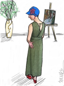 Lizzie's rendering of me in her dress